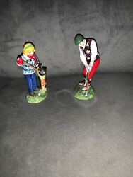 Department 56 Man And Woman Golfer Figurines Mint Condition