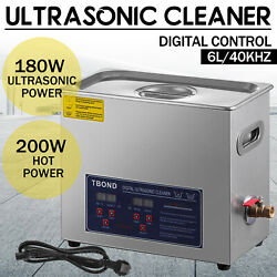 Commercial 6l Ultrasonic Cleaner Industry Heated Heater W/timer Jewelry Glasses