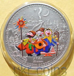 2011 Cook Islands 5 Russian Christmas New Year 1 Oz Silver Colored Proof Coin