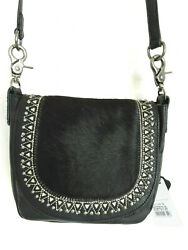 Black Genuine Leather with Black Hair On Front Panel Crossbody by Montana West $31.99