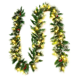 9 ft Christmas Garland With 50 Lights Decorations Indoor For The Home Clearance