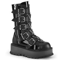 Demonia SLACKER 160 Black Women#x27;s Mid Calf amp; Knee High Boots $108.95