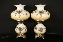 Pair Of Rare Vintage 1970 Ef And Ef Hurricane Style Glass And Metal Lamps