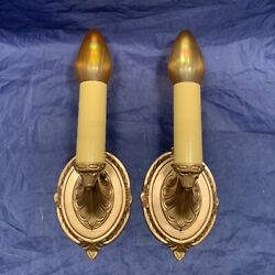 Pair Antique Rewired Electric Candle Wall Sconces Lights Great 99b