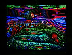PSYCHEDELIC BACKDROP Black light trippy hippie uv visionary bohemian tapestry