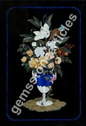 4and039x2.5and039 Beautiful Marble Flower Vase Floral Lapis Stone Inlay Interior Decor