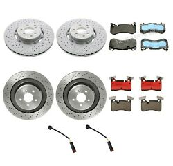 Front And Rear Brake Rotors And Pads With Sensors Kit For Mercedes W218 W212