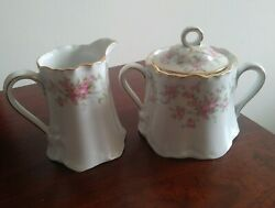 Vintage Hutschenreuther Selb Creamer And Sugar Bowl With Lid Set Bavaria Germany