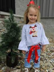 Happy Reindeer Buffalo Plaid Flare Sleeve Girls Denim Outfit 2t 3t 4t 5 6 7 8