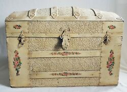Antique Camel Back Steamer Trunk Victorian Embossed Metal 30in. Wide Shabby Chic