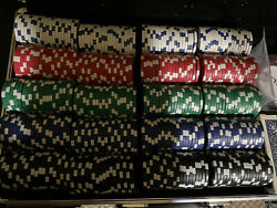 New 400 Ultimate 14g Clay Poker Chips Set With Rolling Case - Texas Hold Em