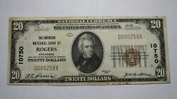 20 1929 Rogers Arkansas Ar National Currency Bank Note Bill Ch. 10750 Vf