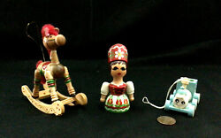 Vintage Handmade And Handpainted Wooden Christmas Ornaments Set Of 3 Pieces