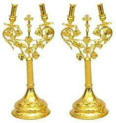 D Religious Gifts Candle Holder Dikiri And Trikiri Gold Plated 16 And039and039