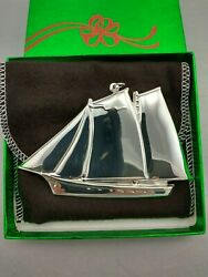 1984 Gorham Schooner Sterling Silver Christmas Ornament Rare New W/box And Bag