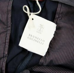 Nwt 695 Brunello Cucinelli Blue Cotton Twill Unlined Flat Front Pants 34w