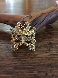 Handmade Butterfly Pendent Brooch With Rose Cut Diamonds Set In 22 Kt. Gold