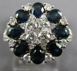 3.19ct Diamond And Aaa Sapphire 18kt White Gold Oval And Round Star Flower Fun Ring
