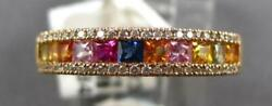 .96ct Diamond And Aaa Multi Color Sapphire 18k Rose Gold Princess And Round Fun Ring
