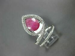 Large 3ct Diamond And Aaa Ruby 14kt White Gold 3d Pear Shape And Round Leaf Fun Ring