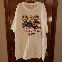 Vtg 90s Single Stitched American Red Cross All Sport Tag T-shirt Xl Frog Holiday