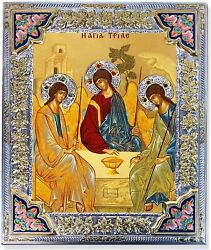 D Religious Gift Holy Trinity Greek Icon Serigraph Mounted On Wood Silver Gold