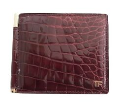 New Tom Ford Red Crocodile Skin Bifold Menand039s Luxury Money Clip Wallet 1950