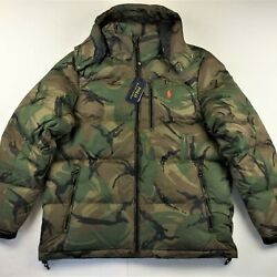 Polo Men Zip-off Hooded Military Army Camo Combat Down Jacket S Xl