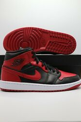 Nike Air Jordan 1 Mid Andldquobannedandrdquo Red Black 554724-074 Menand039s And Gs Sizes 1-13