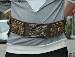 Collect Old Tibet Leather Copper Inlay Gem Buckle Belt Girdle Waistband Fastener