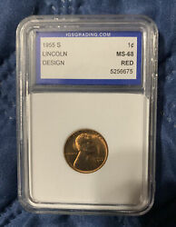 1955-s Lincoln Wheat Penny Ms -68 Value 10k