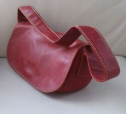 MARCO BUGGIANI Red Soft Leather Shoulder Hand Bag with front flap snap 12 x 7 x4 $27.00
