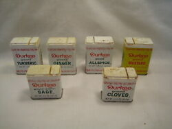Vintage Durkee Spice Tins 6pcs Ginger Turmeric Allspice Mustard And More