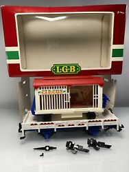 Lgb Trains Circus Animal Flat Car With Wheeled Cage Freight Car 4038 G Scale