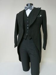 Gorgeous Rare John David Fifth Ave Charcoal Tuxedo Tailcoat And Vest 38 R