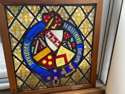 Halliwell Beswick Armorial Coat Of Arms Leaded Stained Glass Window 1880 Antique