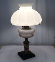 Antique Painted Pink Milk Glass Lamp With Melon Shade And Double Glass Center