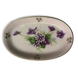 Lefton China Hand Painted Purple Floral Oval Trinket Dish 3 1/4 Red Foil Label