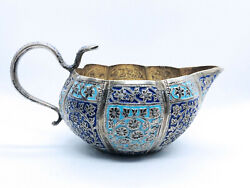 Pooja Oil Lamp Sterling Silver Cloisonné Enamels India Kutch 19th Century Rare