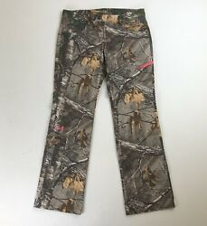Womens Under Armour Camo Hunting Wide Leg Pants Sz 12 32 Inseam Neon Hot Pink