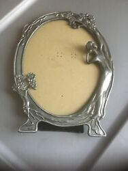 Vintage Cast Pewter Picture frame Woman Maiden Art Nouveau style $14.24