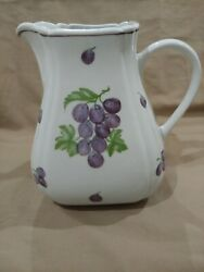 Andrea By Sadek Pitcher 7 White Ceramic With Purple Grapes/green Leaves