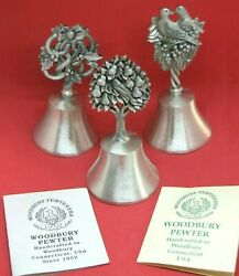 "Vintage Beautiful Woodbury Holiday Pewter 4"" Bells Lot of 3 $38.95"