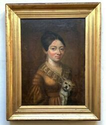 18th Century French Antique Oil Painting Portrait Woman And Dog Boilly