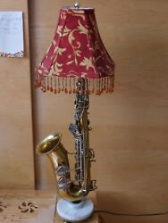 Saxophone Sax Musical Instrument Lamp Unique Table Lamp Marble Stand G