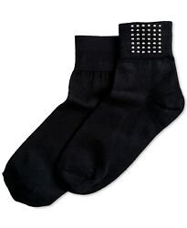 F191 Hue Black Women#x27;s Studded Shortie Socks OS $6.99