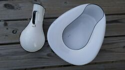 Vintage Antique Queen Columbian Made Enamelware Bed Pan And Male Urinal Set