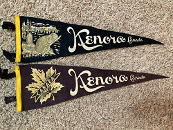 """Lot Of 2 Vintage 1950's Kenora Canada Pennant Beaver And Leaf 22"""""""