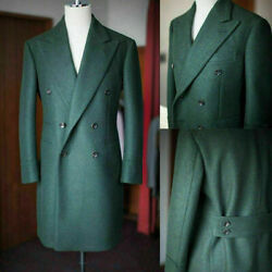 Men Overcoats Wool Green Jackets Suits Long Coats Double Breasted Formal Tuxedos