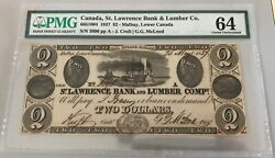 1837 St. Lawrence Bank And Lumber Company 1 - Pmg Choice Unc. 64 - Rarely Offered